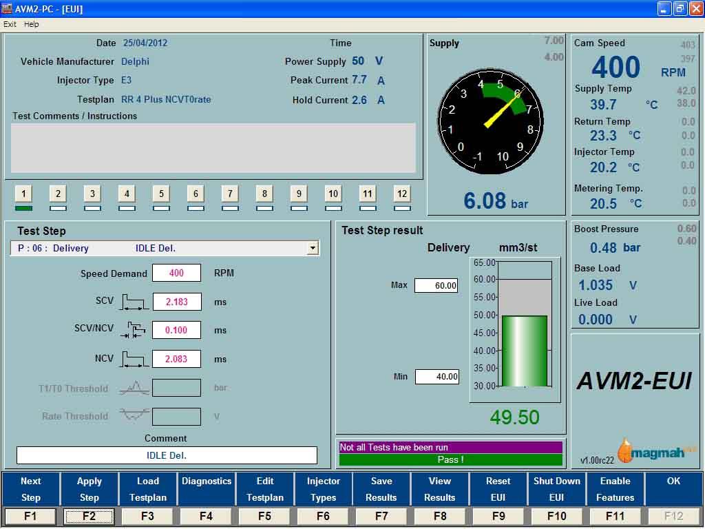 AVM2-PC EUI Test Screen
