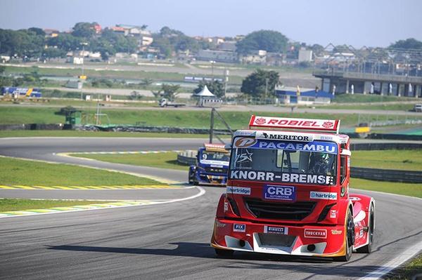 Racing truck in action